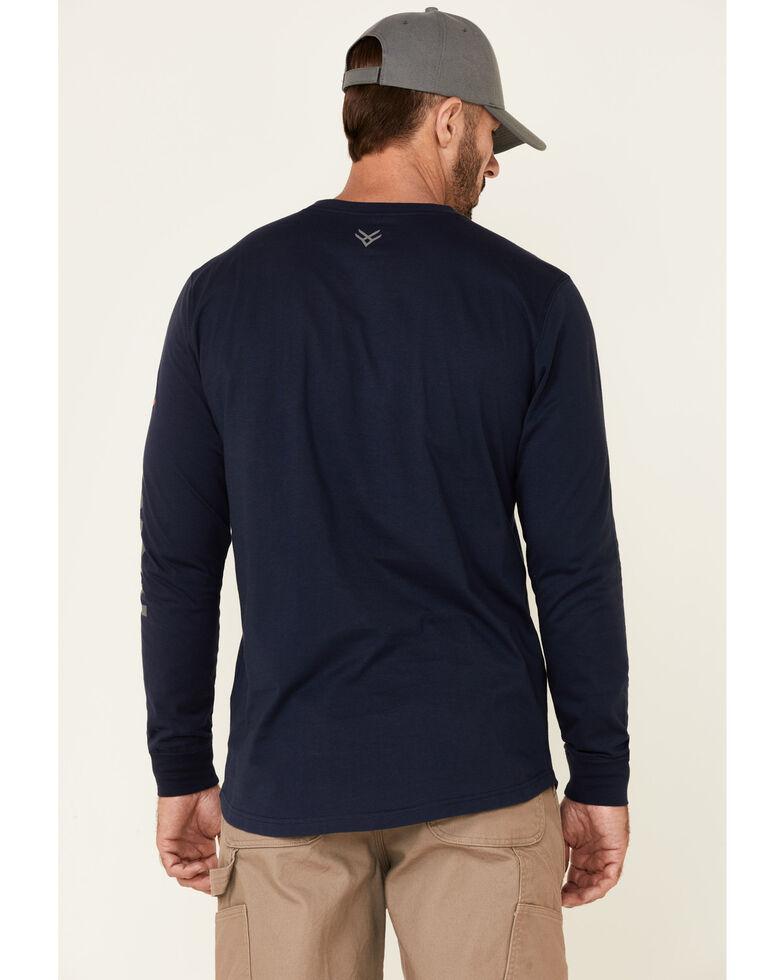 Hawx Men's Navy Original Logo Crew Long Sleeve Work T-Shirt - Tall, Navy, hi-res