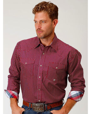 Roper Men's Red Geo Print Long Sleeve Western Snap Shirt, Red, hi-res