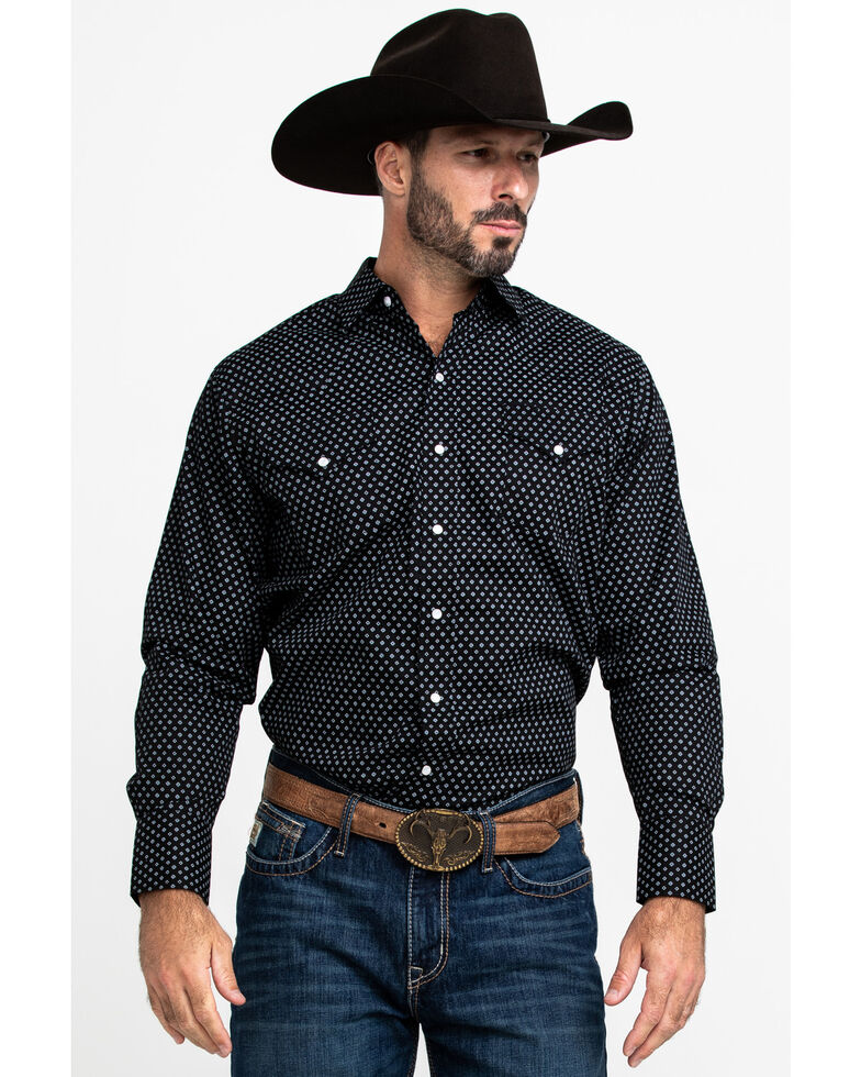 Ely Cattleman Men's Assorted Burgundy Geo Print Long Sleeve Western Shirt - Tall , Multi, hi-res