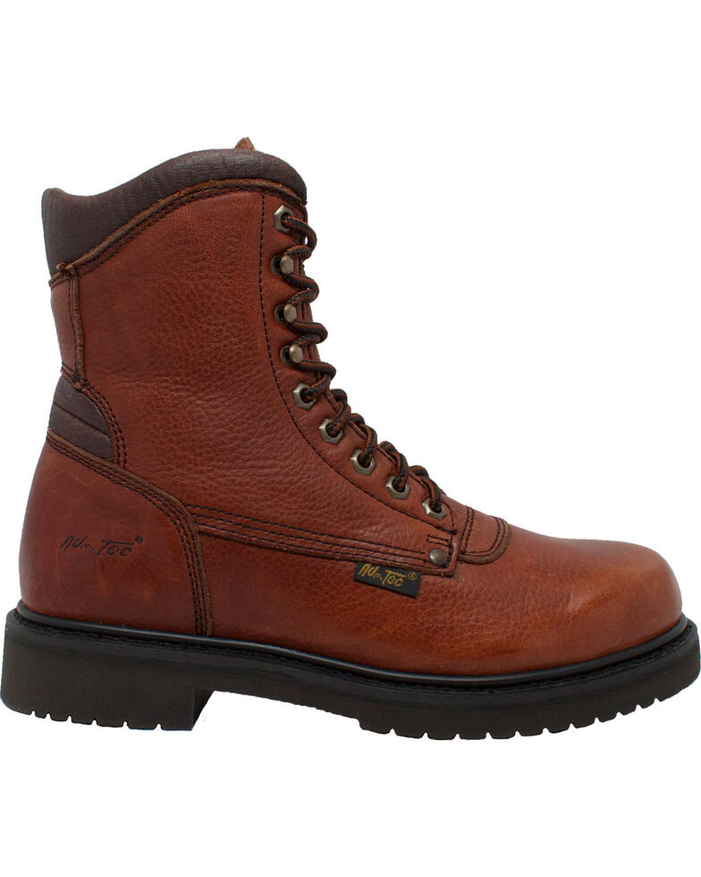 """Ad Tec Men's 8"""" Tumbled Leather Work Boots - Soft Toe, Brown, hi-res"""