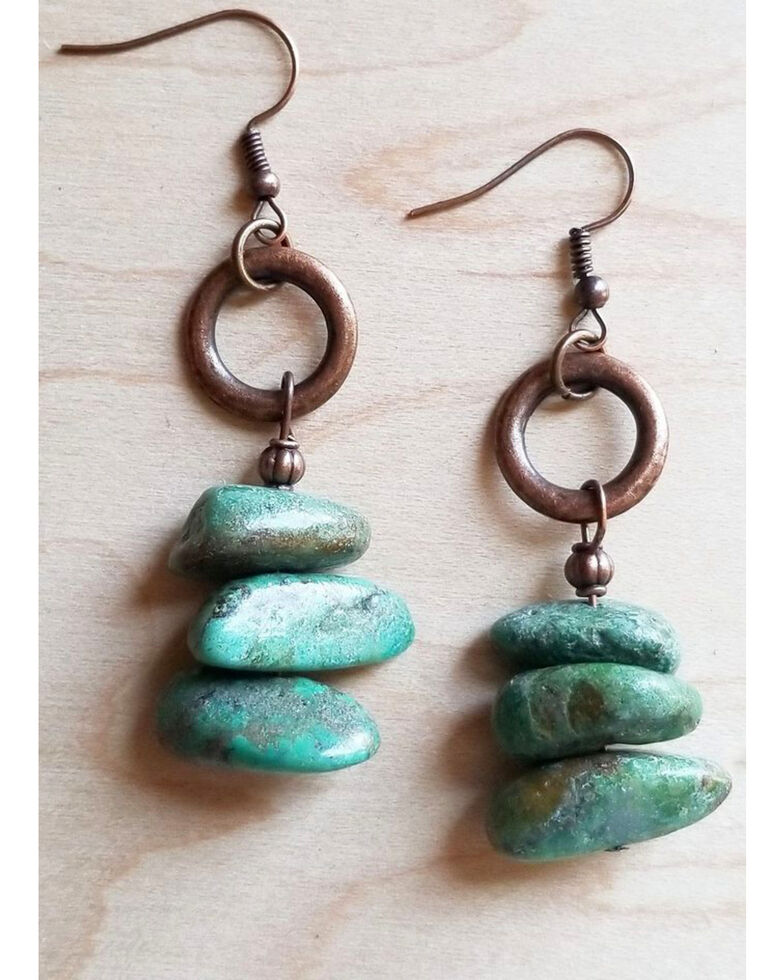 Jewelry Junkie Women's Natural Turquoise Stacked Gemstone Earrings, Turquoise, hi-res