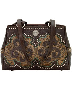 American West Women's Hand Tooled Concealed Carry Multi-Compartment Tote, Chocolate, hi-res