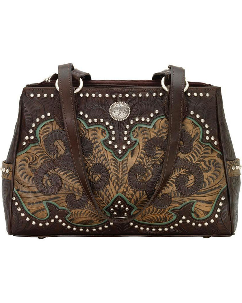 American West Women's Hand Tooled Concealed Carry Multi-Compartment Tote, , hi-res