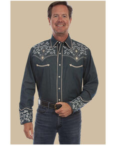 Scully Men's Denim Scroll Embroidered Long Sleeve Snap Western Shirt , Navy, hi-res
