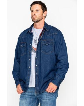 Ely Cattleman Men's Flannel Lined Denim Long Sleeve Western Shirt Jacket - Tall , Indigo, hi-res