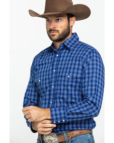 Wrangler Men's Wrinkle Resist Navy Plaid Long Sleeve Western Shirt , Blue, hi-res
