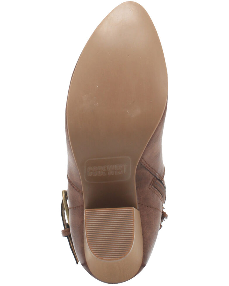 Code West Women's Swerve Fashion Booties - Round Toe, Brown, hi-res