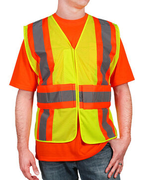 American Worker Men's Yellow 2-Tone Vest - Big & Tall , Yellow, hi-res