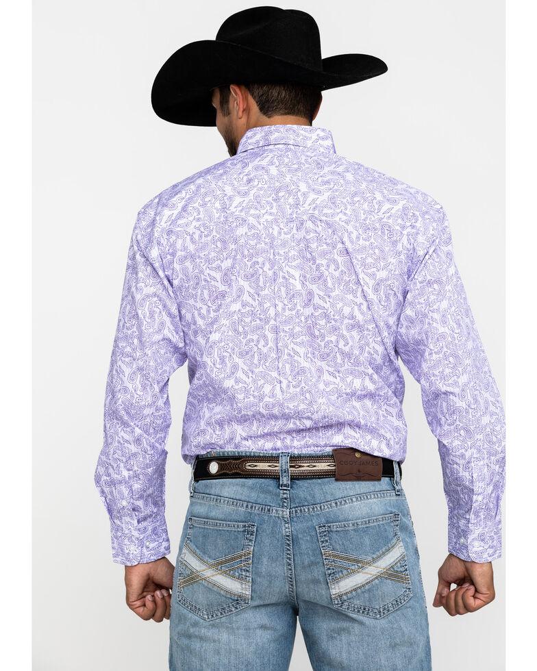 George Strait By Wrangler Men's Purple Paisley Print Long Sleeve Western Shirt , Purple, hi-res