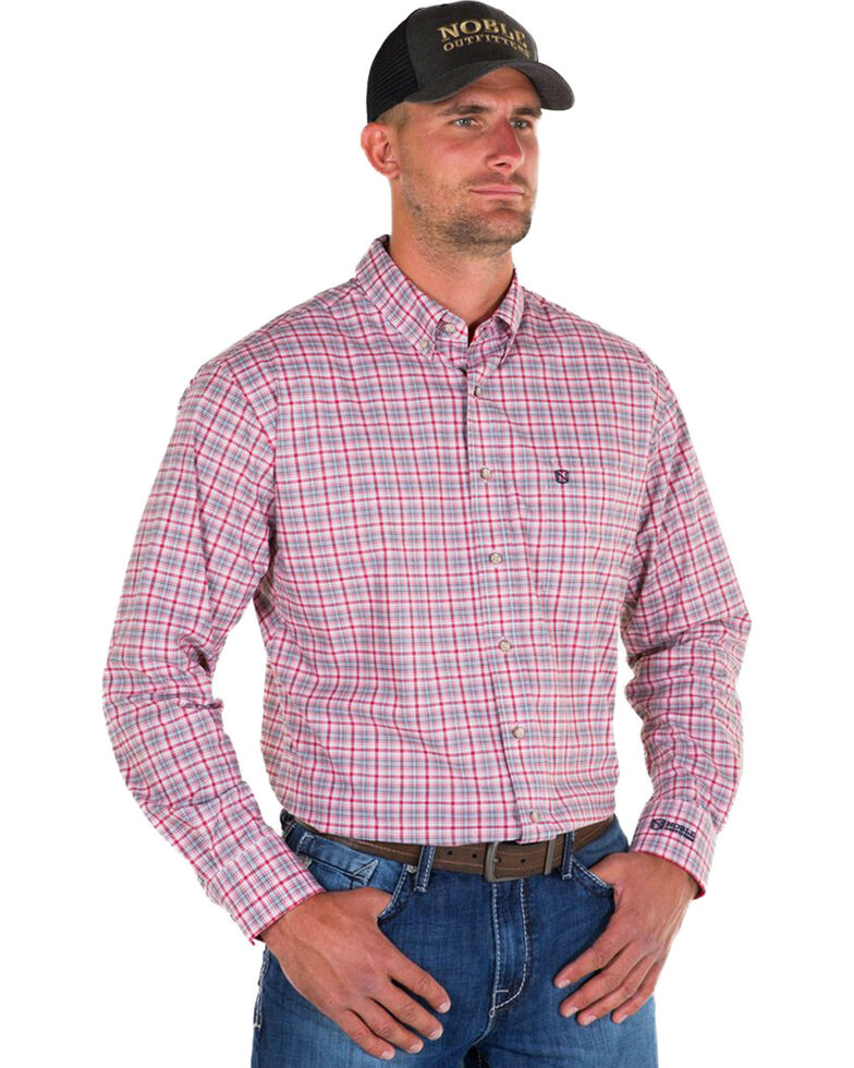 Noble Outfitters Men's Red Generations Find Line Plaid Long Sleeve Western Shirt , Red, hi-res