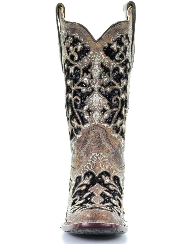 Corral Women's Black Sequin Inlay Western Boots - Square Toe, Brown, hi-res
