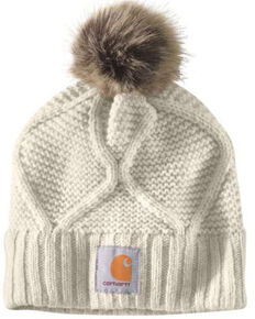 Carhartt Women's Cable Knit Pom Work Hat , Sand, hi-res