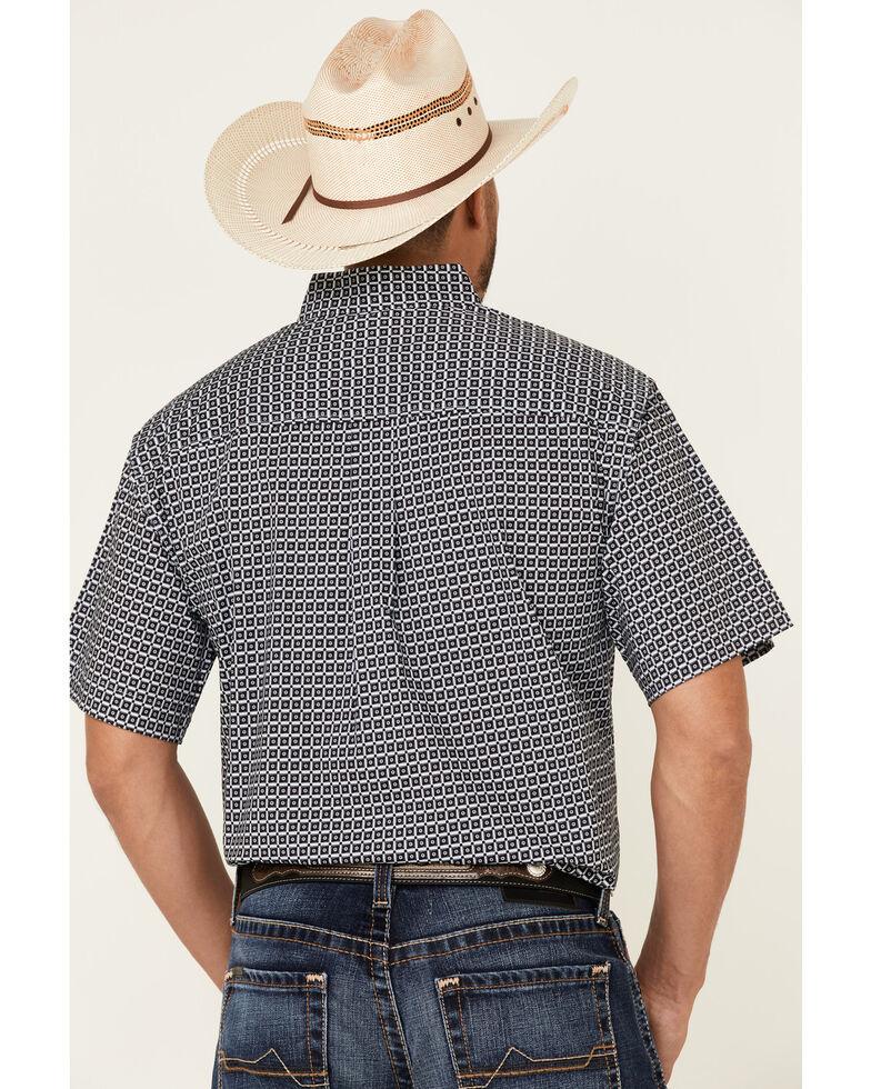Cinch Men's Light Blue Stretch Geo Print Short Sleeve Western Shirt , Light Blue, hi-res