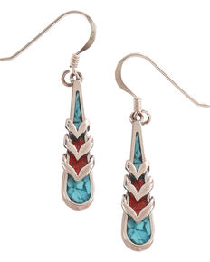 Silver Legends Women's Turquoise and Coral Feather Dangle Earrings , Turquoise, hi-res