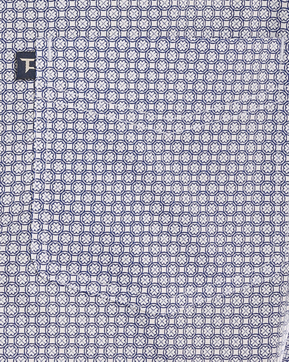 Tuf Cooper Men's Blue Stretch Printed Shirt , Blue, hi-res