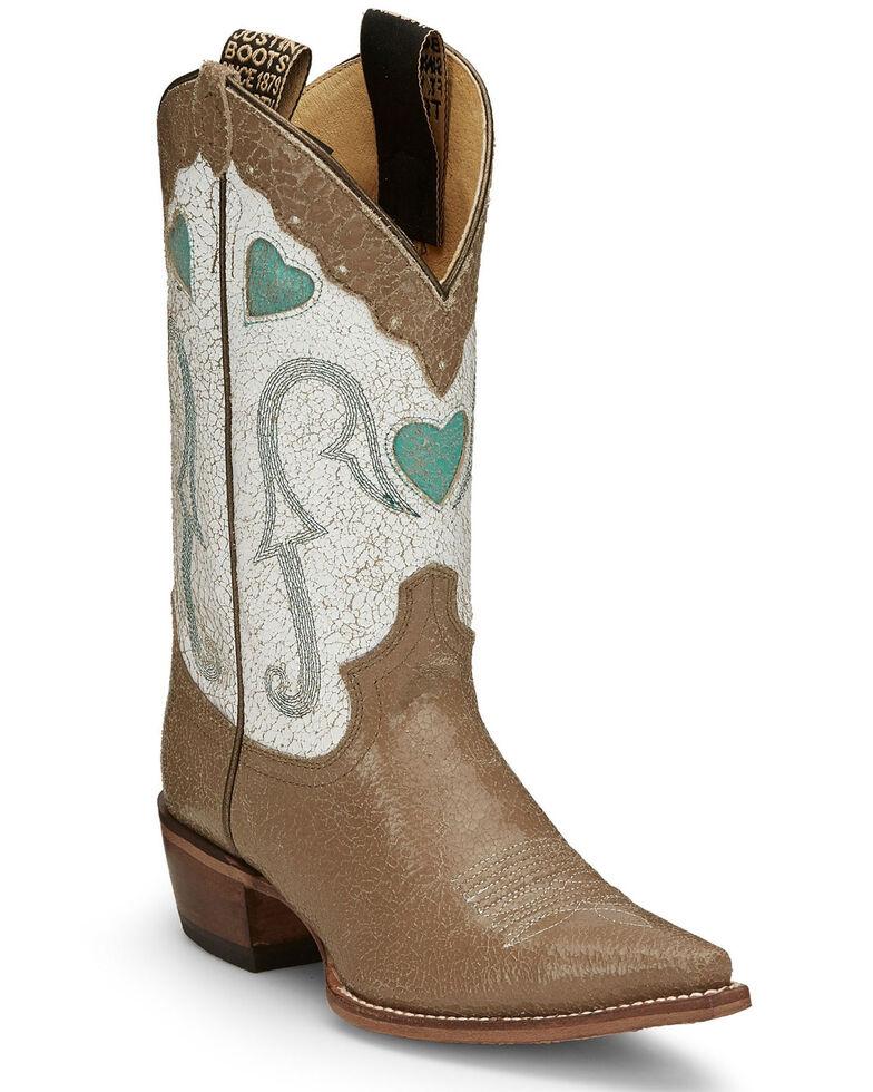Justin Women's Mosaic Bronze-Tan Western Boots - Snip Toe, Tan, hi-res