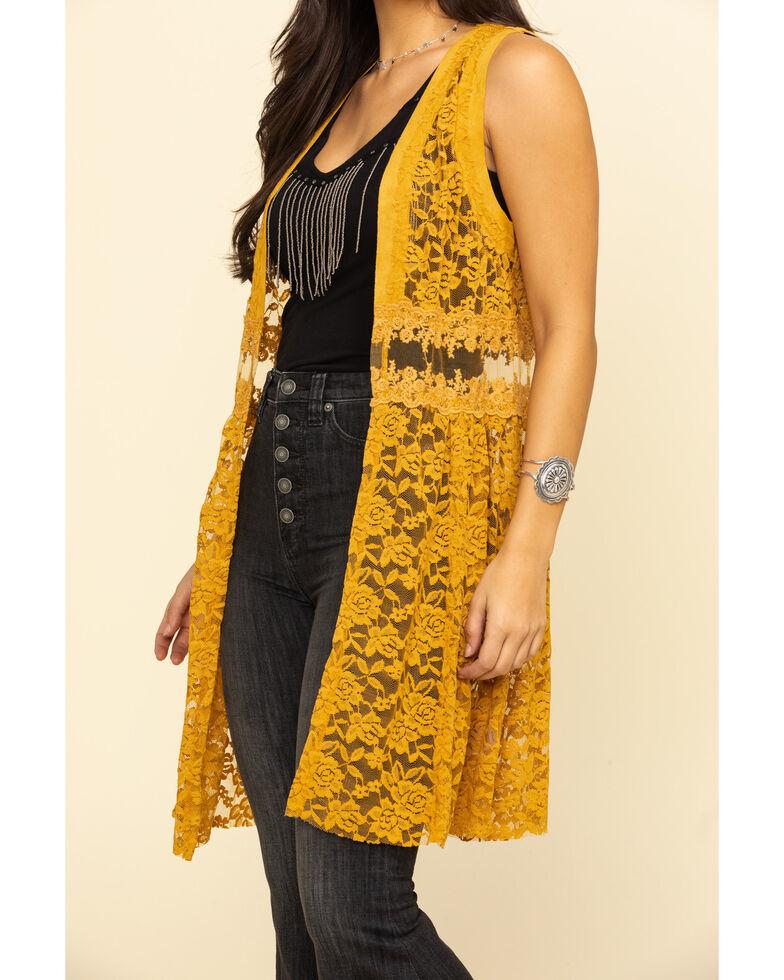 Vocal Women's Mustard Lace Vest, Dark Yellow, hi-res