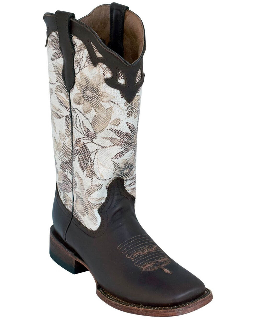 Ferrini Women's White Floral Western Boots - Square Toe, Chocolate, hi-res