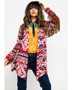 Ariat Women's Red Aztec Head Chief Sweater, Multi, hi-res