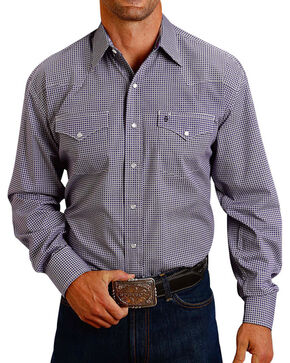 Stetson Men's Purple Geo Long Sleeve Western Shirt, Purple, hi-res