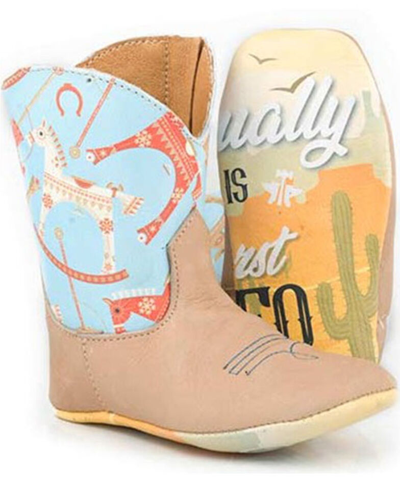 Tin Haul Infant Girls' My First Rodeo Poppet Boots - Square Toe, Tan, hi-res