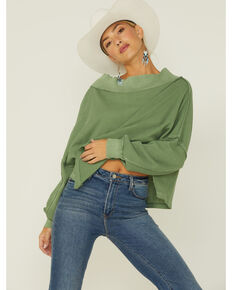 Free People Women's Close To You Off The Shoulder Pullover Top, Moss Green, hi-res