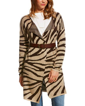 Ariat Women's Brown Animal Print Logan Cardigan , Brown, hi-res