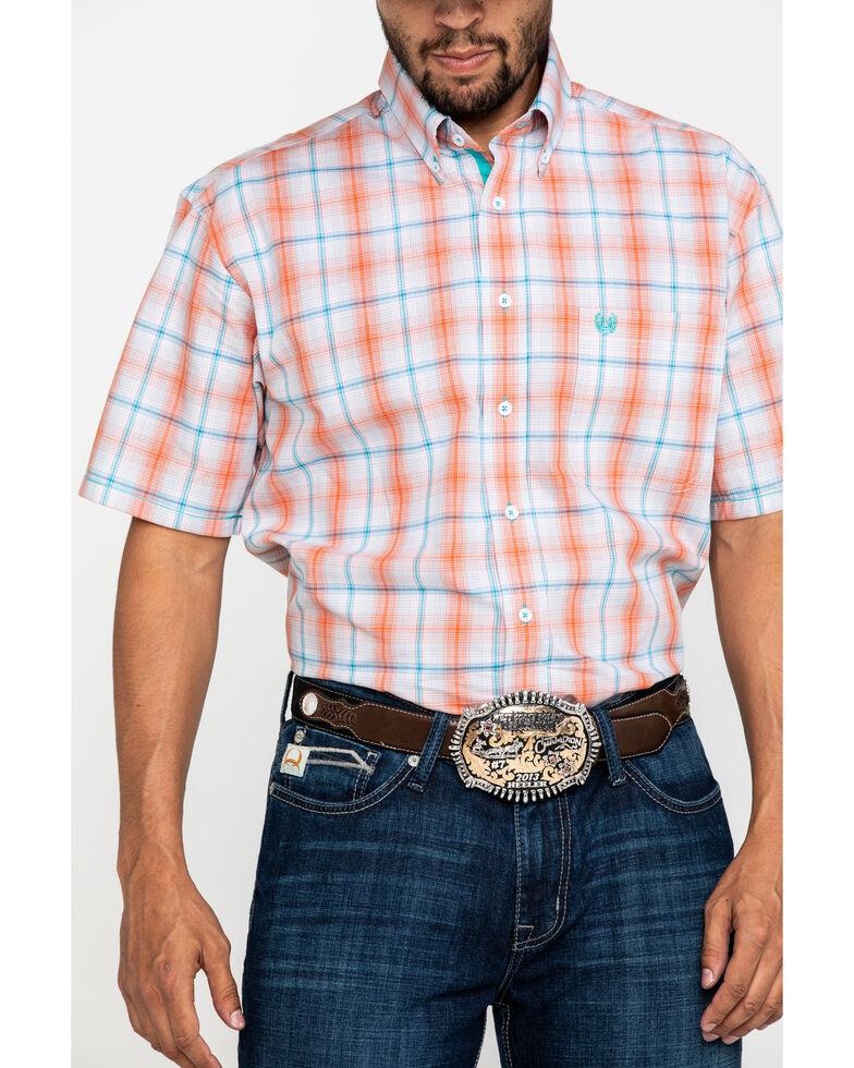 Rough Stock By Panhandle Men's Gorham Plaid Short Sleeve Western Shirt , Orange, hi-res