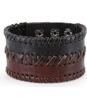 Moonshine Spirit Men's Braided Leather Cuff, Dark Brown, hi-res