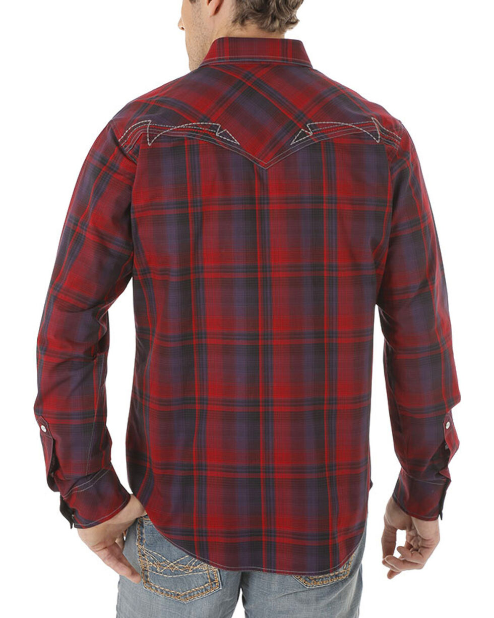 Rock 47 by Wrangler Men's Red Long Sleeve Plaid Shirt , Red, hi-res