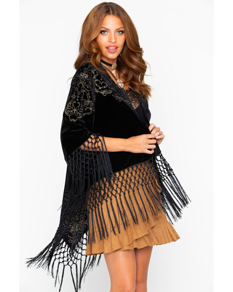 cowgirl up women s velvet embroidered fringe kimono country outfitter