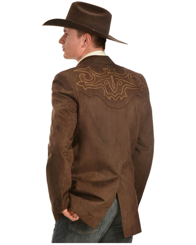 Circle S Men's Chestnut Embroidered Boot Stitch Embroidered Button-Down Blazer , Brown, hi-res