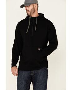 Ariat Men's Black Rebar Workman 1/4 Zip Front Work Hooded Pullover , Black, hi-res