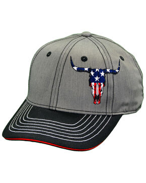 Cowboy Hardware Men's American Flag Skull Snap Cap, Heather Grey, hi-res