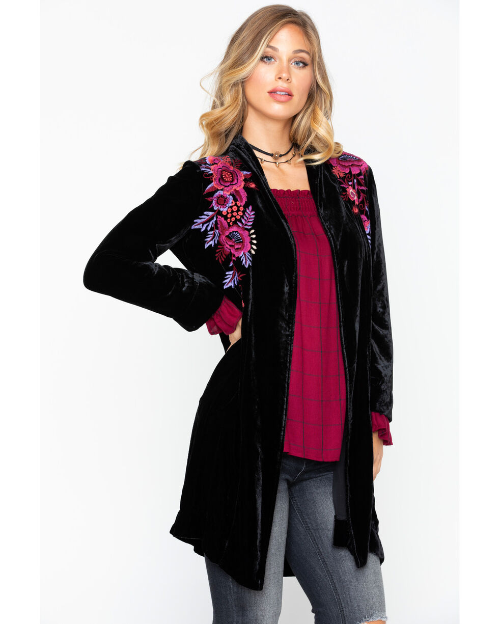 Johnny Was Women's Marcella Velvet Long Jacket, Black, hi-res