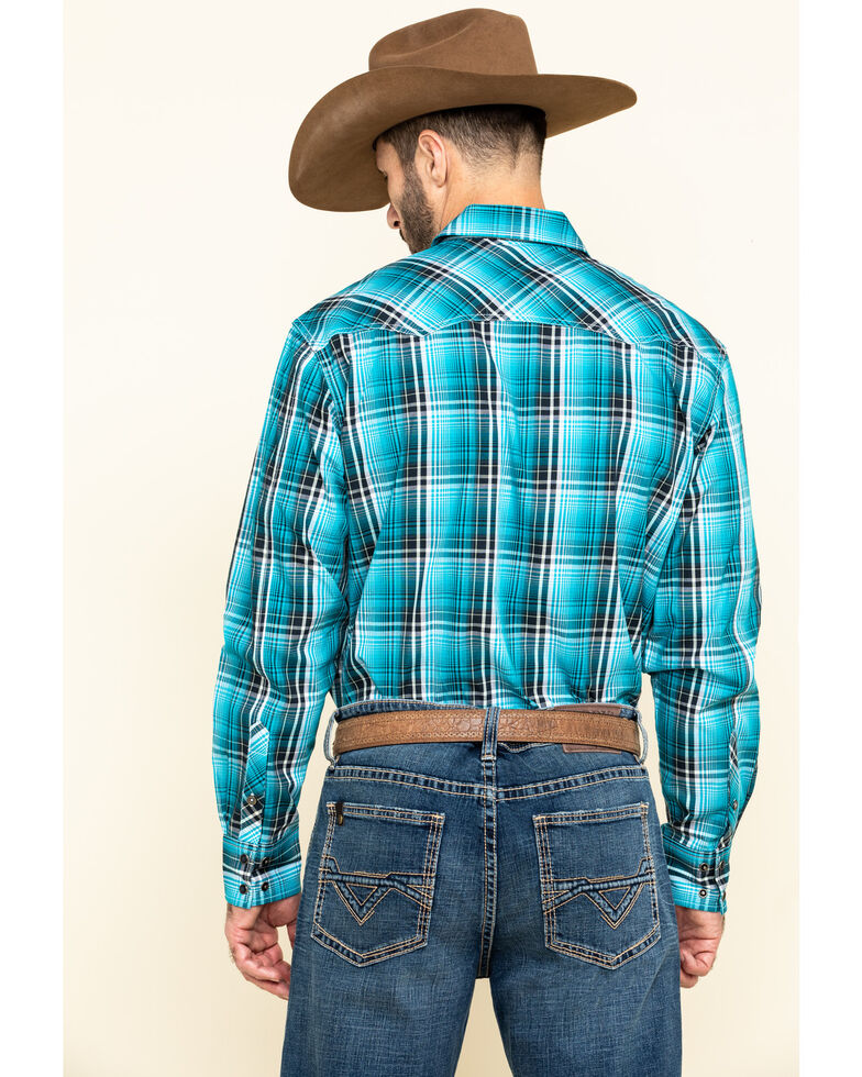 Cinch Men's Modern Fit Blue Large Plaid Long Sleeve Western Shirt , Blue, hi-res