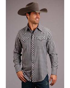Stetson Men's Original Rugged Ombre Check Twill Plaid Long Sleeve Western Shirt , Burgundy, hi-res
