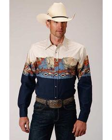 Roper Men's Scenic Riding Border Print Long Sleeve Western Shirt , Blue, hi-res