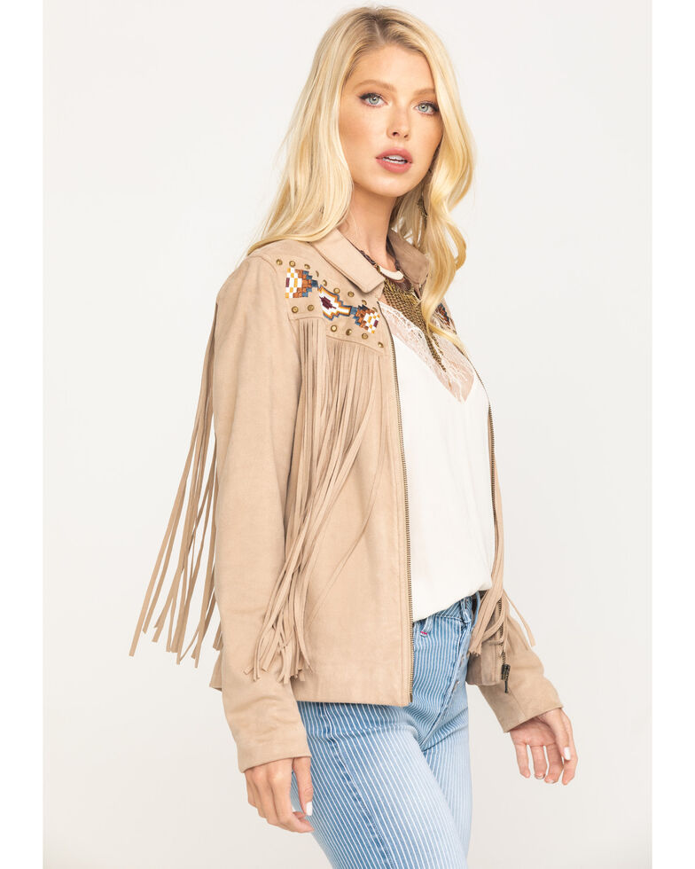 Idyllwind Women's Spell Fringe Faux Suede Jacket, Tan, hi-res