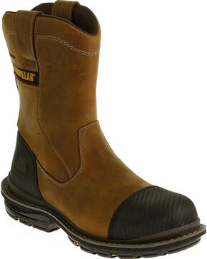 Caterpillar Men's Fabricate Pull On Tough Waterproof Boots - Composite Toe, Light Brown, hi-res