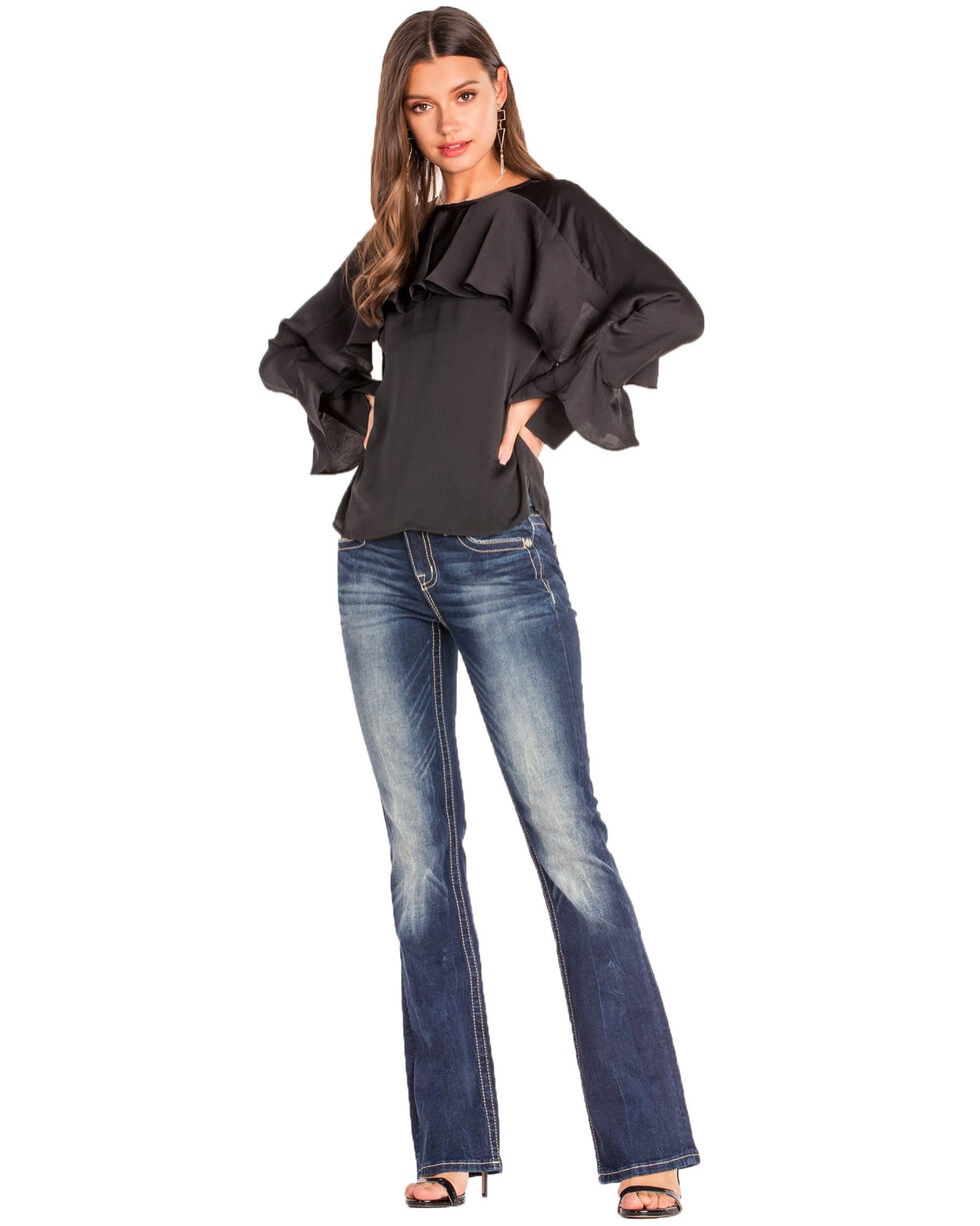 Miss Me Women's Chloe Crossed Over Mid-Rise Boot Jeans , Blue, hi-res
