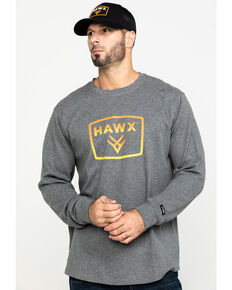 Hawx® Men's Grey Box Logo Graphic Thermal Long Sleeve Work Shirt , Charcoal, hi-res