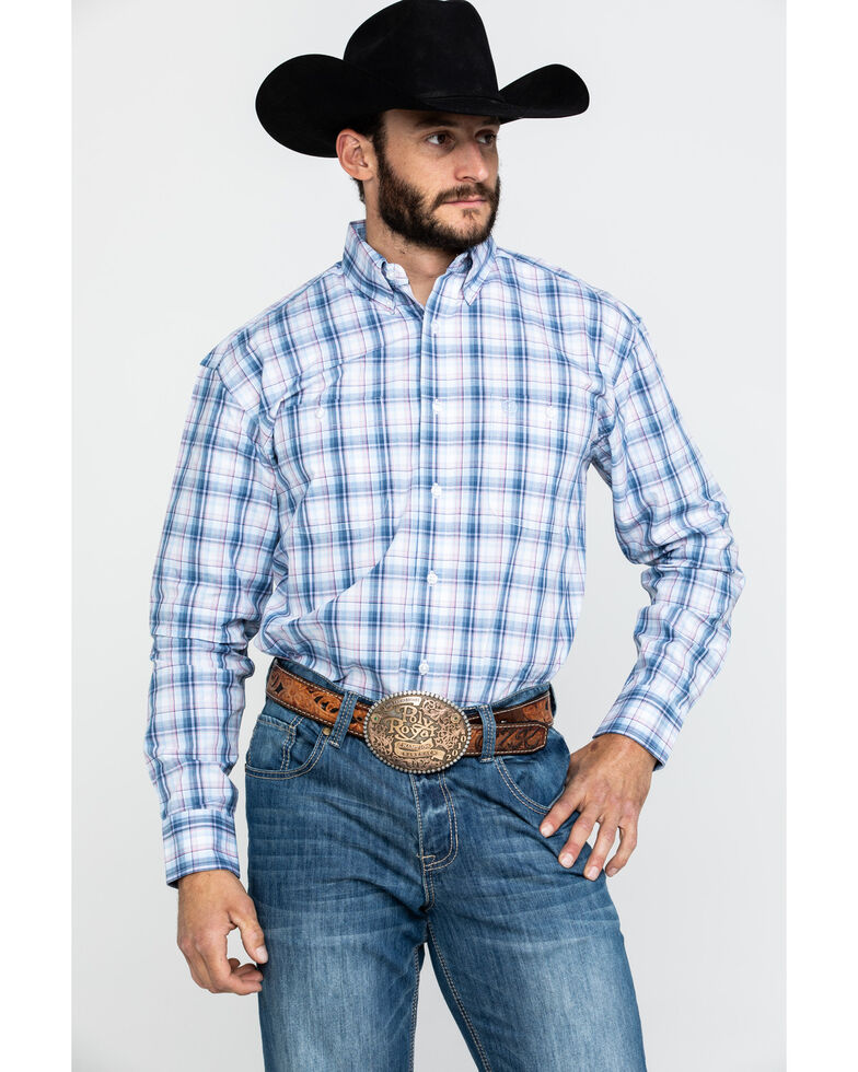 George Strait by Wrangler Navy Med Plaid Long Sleeve Western Shirt - Tall , Navy, hi-res