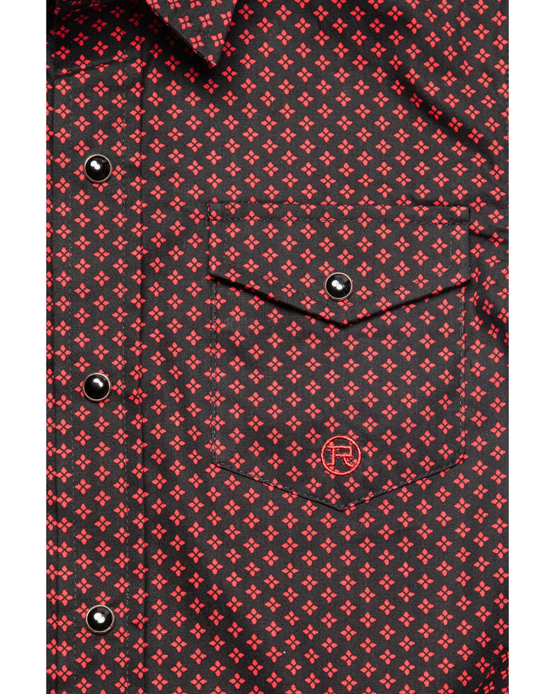 Roper Boys' Black Amarillo Geo Print Long Sleeve Western Shirt , Black, hi-res