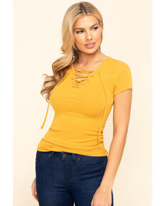 Idyllwind Women's Free Ride Henley Top, Yellow, hi-res