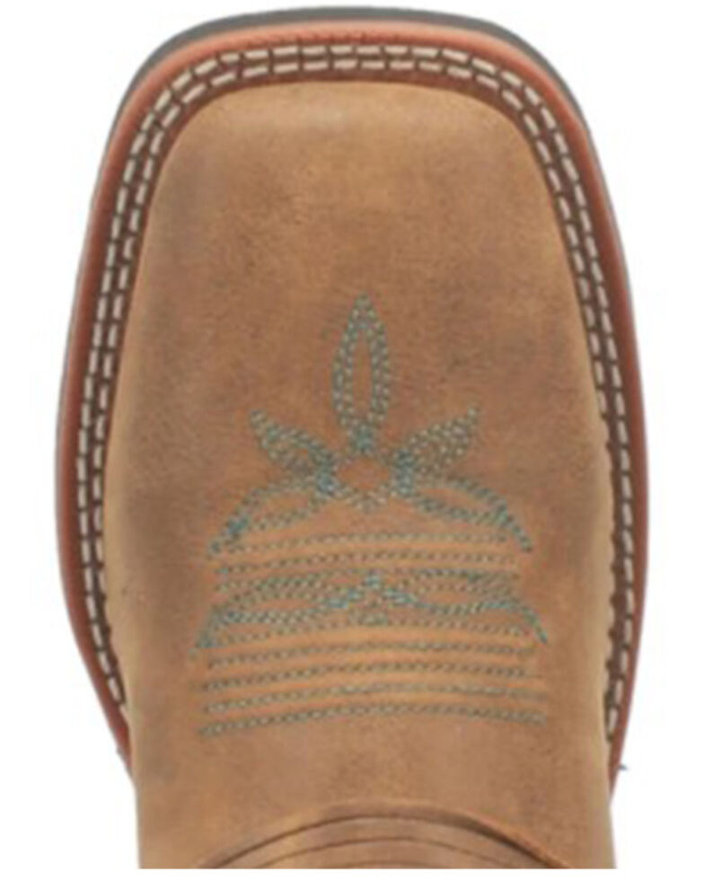 Lardeo Women's Tan Turquoise Stitching Western Boots - Square Toe, Brown, hi-res