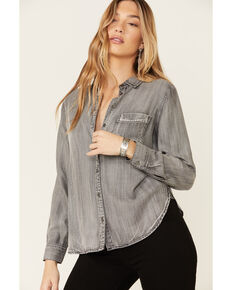 Velvet Heart Women's Grey Bennet Starlight Button-Up Long Sleeve Shirt , Grey, hi-res