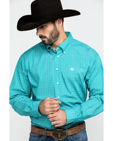 Cinch Men's Teal Geo Diamond Print Button Long Sleeve Western Shirt , Teal, hi-res