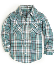 Wrangler Toddler Boys' Turquoise Plaid Snap Long Sleeve Western Shirt , Turquoise, hi-res