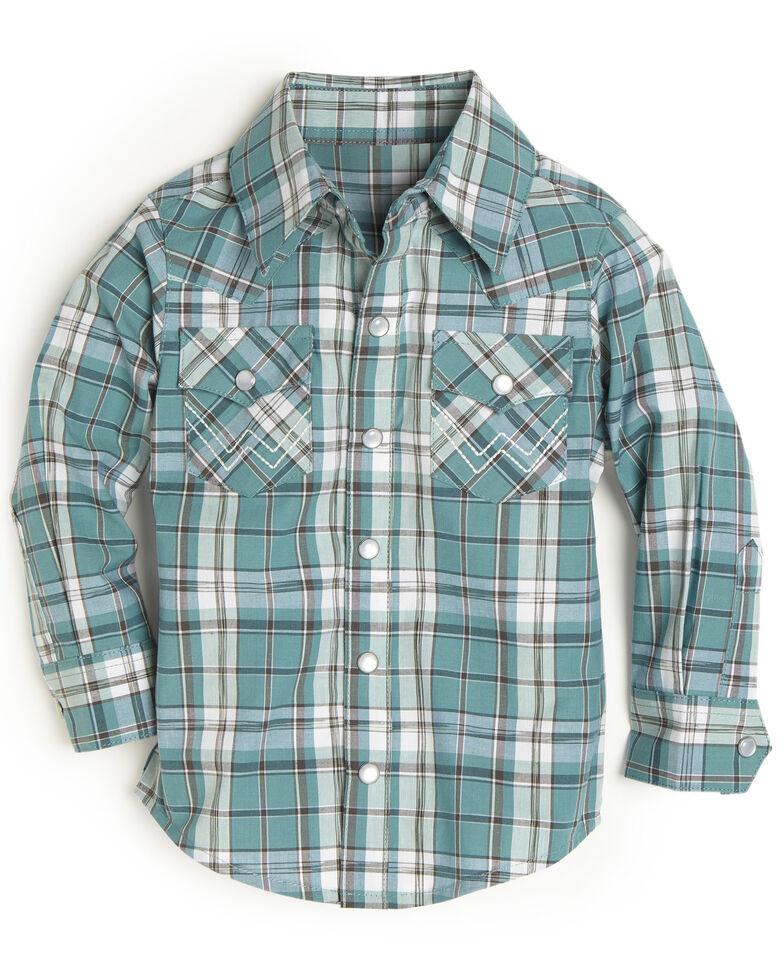Wrangler Toddler Boys' Turquoise Plaid Snap Long Sleeve Western Shirt , Turquoise, hi-res